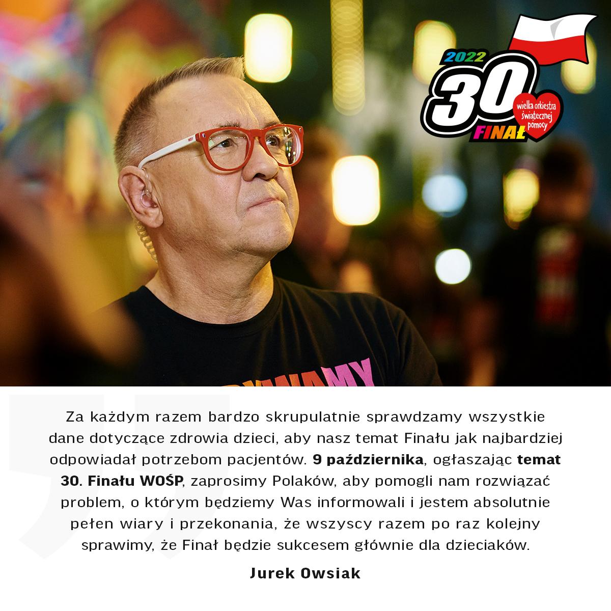 Jurek Owsiak o 30. Finale WOŚP