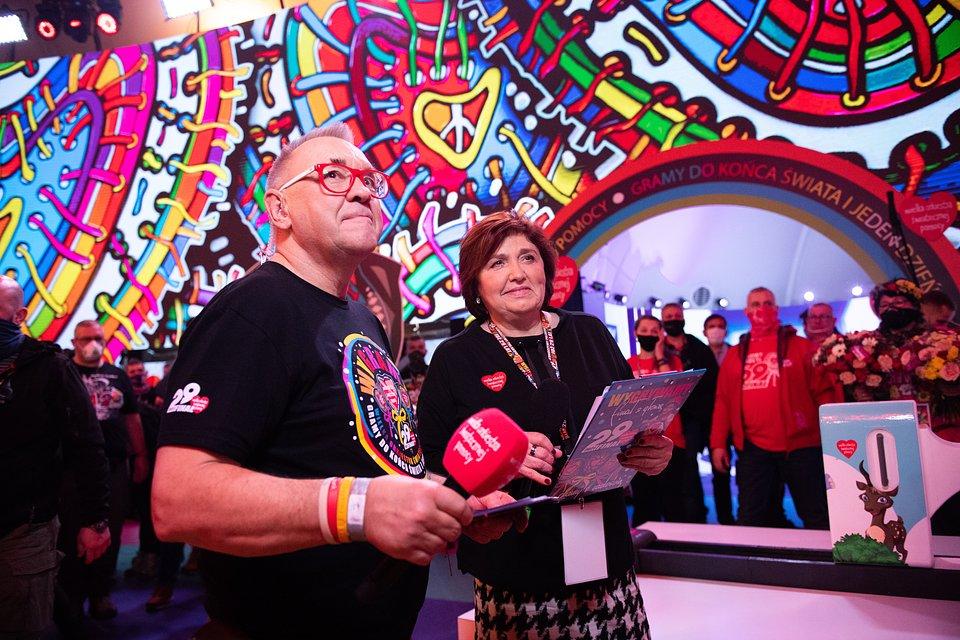 Jurek Owsiak i Lidia Niedźwiedzka-Owsiak w studio 29. Finału. fot. Stanisław Wadas