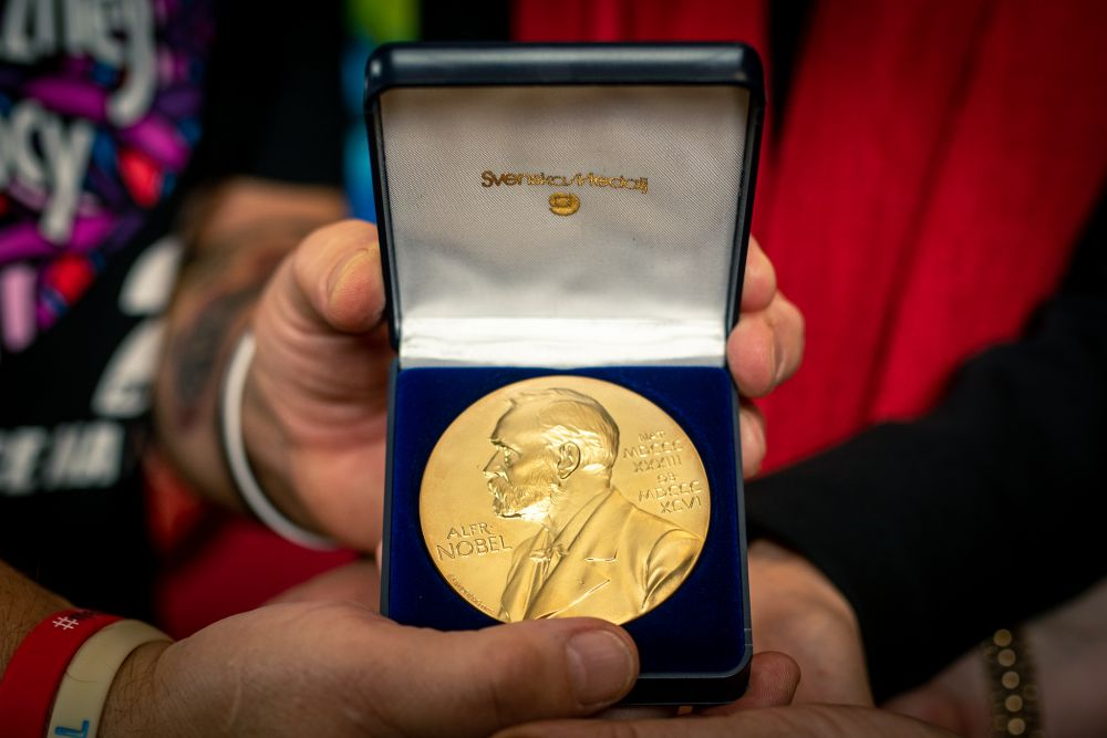 The official replica is identical to the original medal awarded to Tokarczuk in Stockholm this year. Photo by Łukasz Widziszowski
