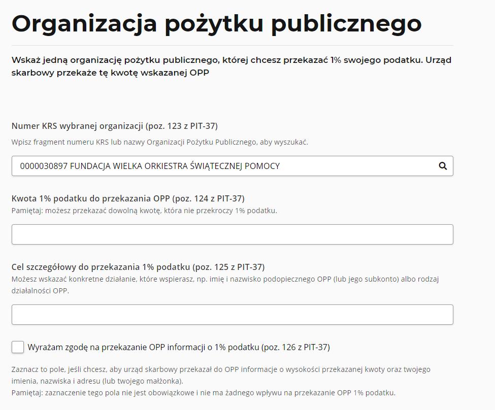 e-PIT - wybór organizacji pozarządowej