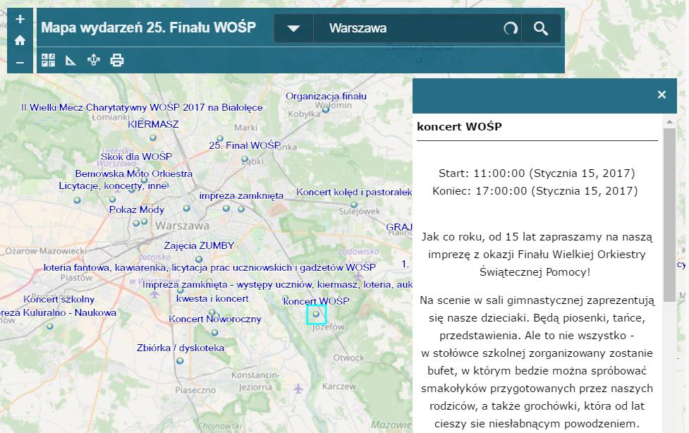 Mapa przygotowana przez Esri Polska