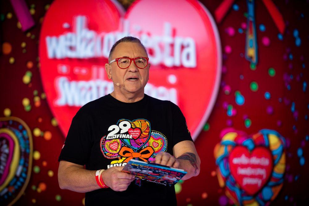 Jurek Owsiak ogłaszający wynik 29. Finału WOŚP fot. Łukasz Widziszowski